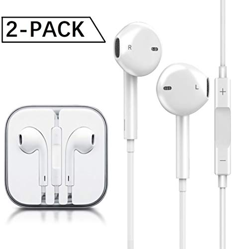 PUJIN Earbuds Compatible with iPhone/Apple/Samsung Stereo Bass Headphones with Microphone Noise Isolating, in-Ear Earbuds with Mic, Wired in Ear Earphones Noise Isolation, [2 Pack White]