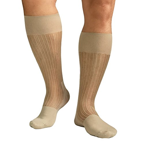 Mr.Babuu 5Pairs Pack Men's Fashion Mid Calf Striped Nylon Sheer Silk Dress Socks (Beige)