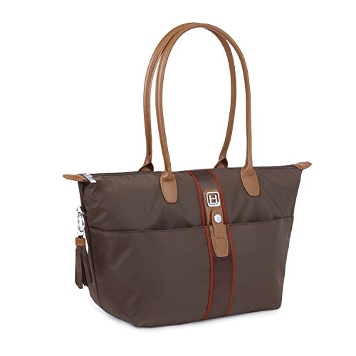 Hedgren Meg Tote Shoulder Bag with Exterior Pockets, Magnetic Snap Closure and Zip Pocket, Large, 18 x 6.5 x 11.8 Inches, Womens, Seal Brown