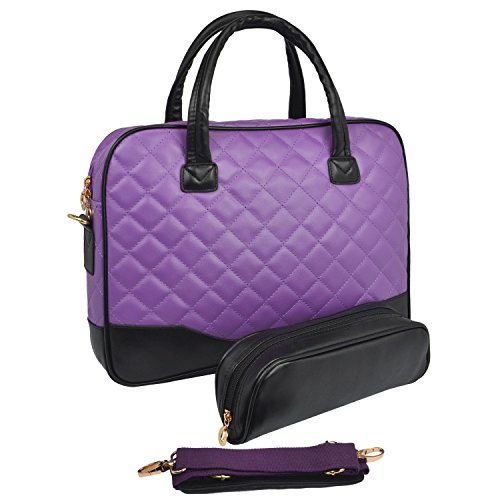 14.1 inch Purple Diamond Quilted Pattern with Black Accent Trim Bubble Foam Padded Laptop Computer Notebook Sleeve Office Tote Briefcase Carry Case Messenger Shoulder Bag