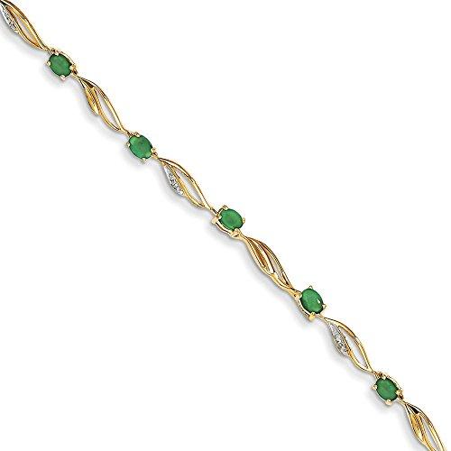 Brut 14 carats-Diamant-émeraude ovale et Bracelet-JewelryWeb