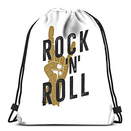 Gym Drawstring Backpack Sport Bag Vintage Rock N Roll Music Musical Hand Sign Lightweight Shoulder Bags Travel College Rucksack for Women Men
