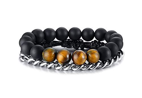 XUANPAI Mens Natural Tiger Eye Stone Beaded Bracelet Stainless Steel Link Chain Bangle Set Stacking Bracelet for Him 8 Mm Wheat Braid