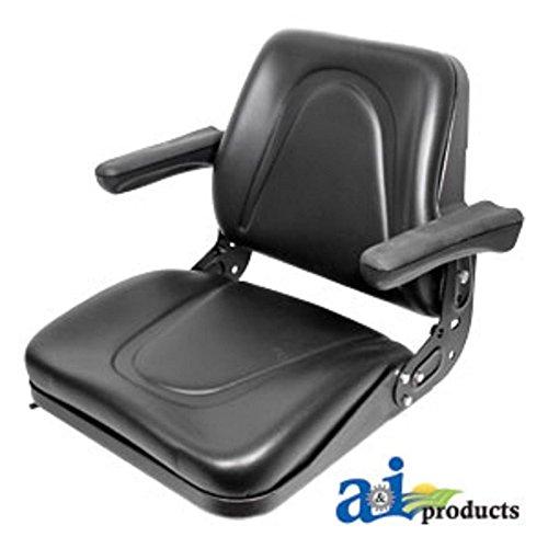 - T500BL Seat, Universal w/Slide Track & Flip-Up Armrests, Black Vinyl Fits:Bobcat