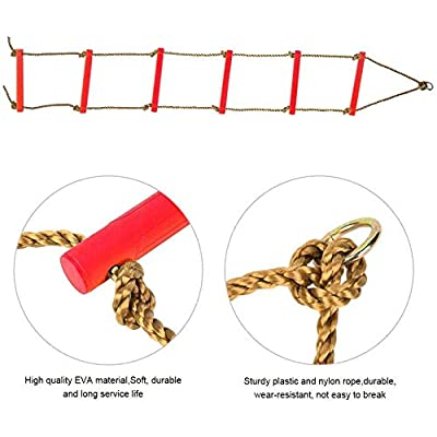 NAIZEA Climbing Ladder Climbing Rope Ladder for Kids, Playground Hanging Ladder Toy Exercise Equipment for for Indoor Play Set and Outdoor Tree House, Playground Swing Set and Ninja Slackline (Red): Toys & Games