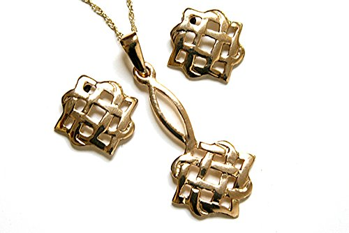 Tissage en or 9 carats avec pendentif et de boucles d'oreilles