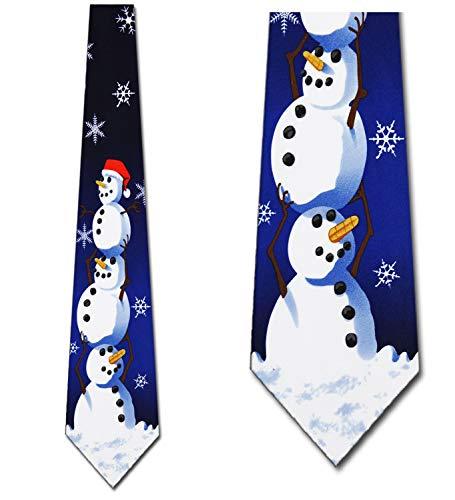 Christmas Ties Snowman NeckTie Mens tie by Three Rooker