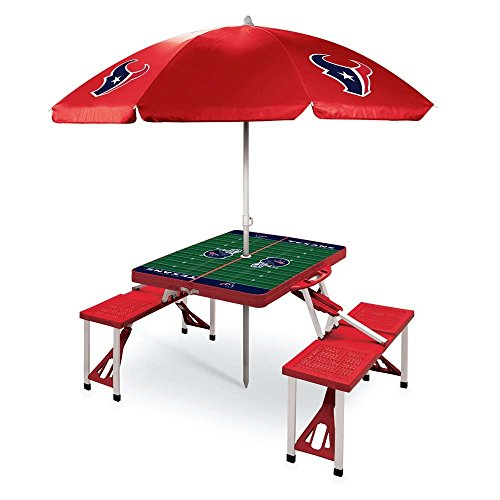NFL Houston Texans Picnic Table Sport with Umbrella Digital Print, One Size, Red by PICNIC TIME