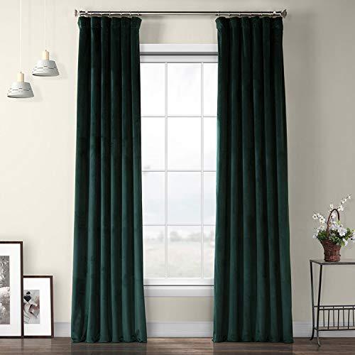 VPYC-179759-108 Heritage Plush Velvet Curtain, 50 x 108, Forestry Green