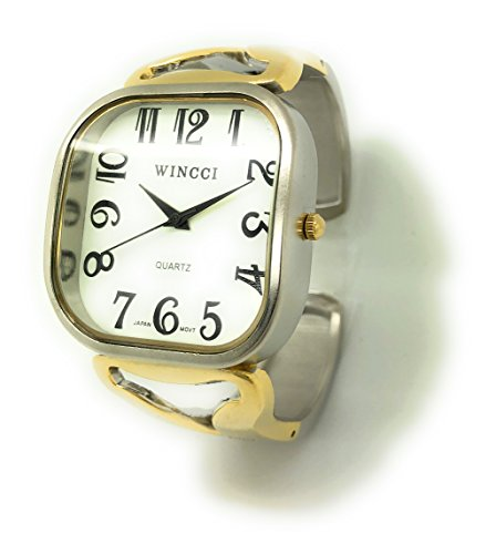 Ladies Jumbo Big Numbers Metal Bangle Cuff Fashion Watch White Dial Wincci (Two Tone)