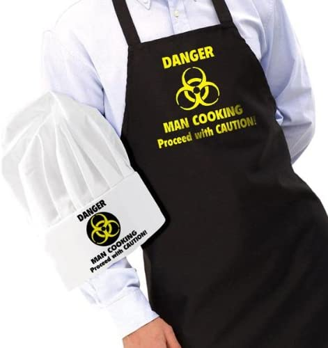 Danger Man Cooking Apron & Hat Novelty Set