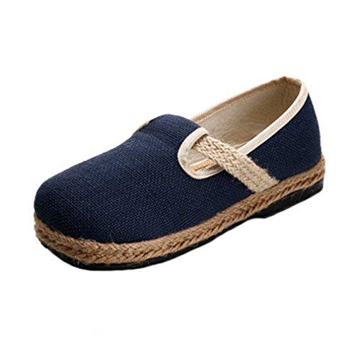 Giy Kvinna Retro Loafers Platt Mockasin Slip-on Rund Tå Linne Rem Tillfälliga Loafers Klä Sandaler Skor Brun