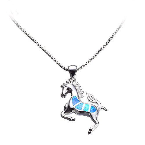 - Women Blue Opal Horse Necklace New Fashion Animal Wedding Jewelry 925 Sterling Silver Filled Necklaces Pendants Gift