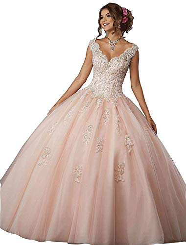 Princess Girl's V-Neck Beading Lace Quinceanera Dresses Sweet 16 Appliques Quinceanera Prom Ball Gown Blush Pink -