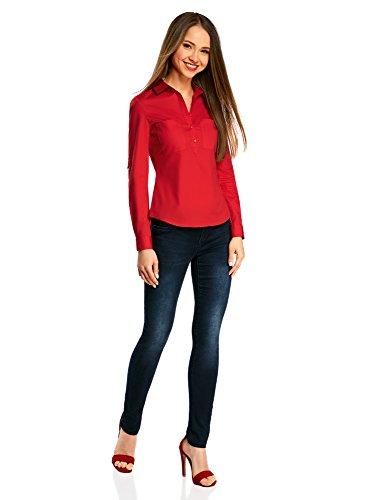 Ultra sul Petto Donna oodji Tasche Rosso 4500n Camicia con Basic Ynvdxd4q