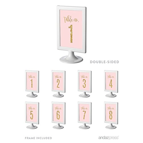 Andaz Press Blush Pink Gold Glitter Print Wedding Collection, Framed Table Numbers 1 - 8 on Perforated Paper, Double-Sided, 4 x 6-inch, 1 Set, Includes Frames (1 Gold Framed Print)