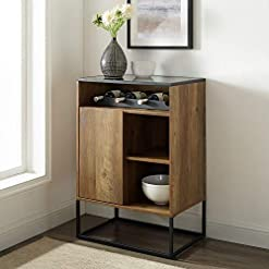 Home Bar Cabinetry Walker Edison Mid Century Modern Wood and Glass Bar Entryway Serving Storage Cabinet Doors Dining Room Console, Dark… home bar cabinetry