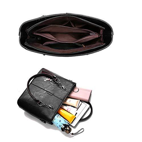 Top Bag Purse Tote Satchel Handle Women Hobo Shoulder for PU Leather Black Stylish Handbags Handbag nTOwP08xq