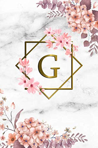 (G: Cute Initial Monogram Letter G College Ruled Notebook. Pretty Personalized Medium Lined Journal & Diary for Writing & Note Taking for Girls and Women - Grey Marble & Gold Pink Floral Print )