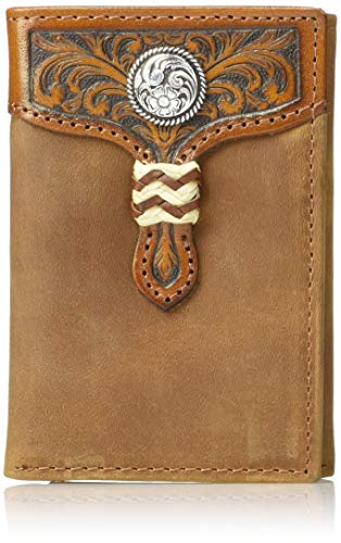 Distressed Tri Fold - Ariat Men's Distressed Circle Concho Rawhide Tri-fold Wallet, Brown