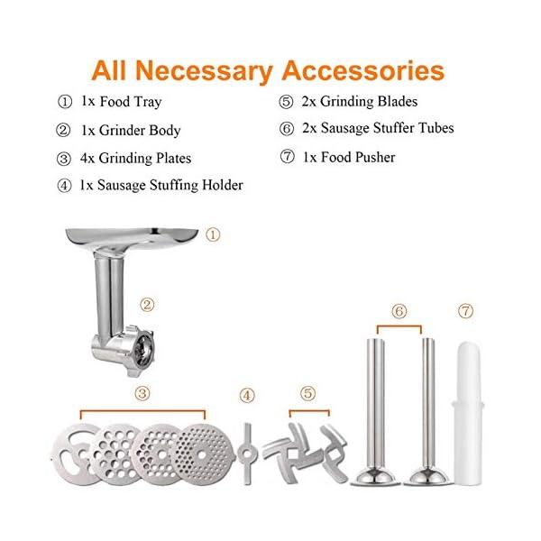 N/J Tritacarne Accessori per Insaccatrice per Salsicce, Accessorio per Tritacarne in Metallo per Robot da Cucina… 4