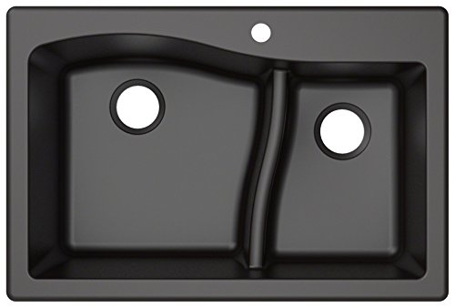 Kraus KGD-442BLACK Quarza Granite Kitchen Sink, 33-inch, Black
