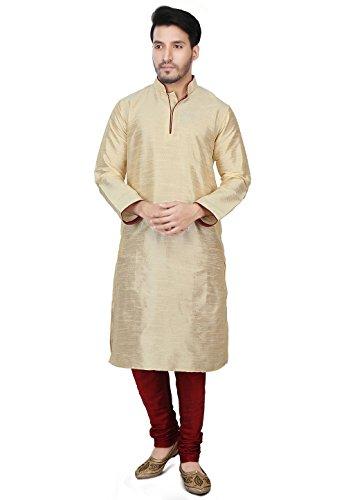 Dupion Silk Kurta Pajama Bollywood Men's Designer Indian Kurta Pyjama Set S-5XL Beige