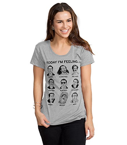Nicolas Cage Mood Board Funny Graphic Screen Printed Crewneck T-Shirt for Women - M ()