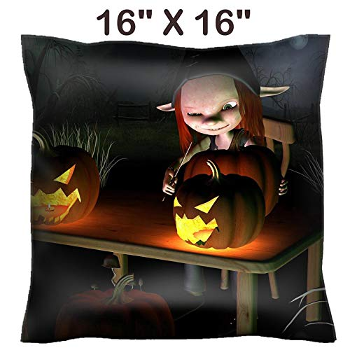 Liili 16x16 Throw Pillow Cover - Decorative Euro Sham Pillow Case Polyester Satin Soft Handmade Pillowcase Couch Sofa Bed Image ID 32913908 Little Goblin Carving Spooky Halloween Pumpkin Lanterns wit