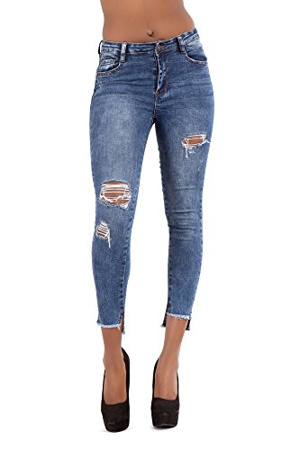 Ripped Blue Lustychic Jeans Donna Faded Navy xXXOtw