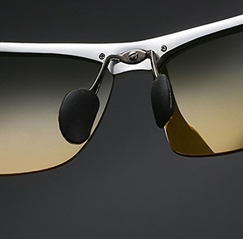 Aluminium Conduite De Polarisée Sport Résine Perspective Magnésium QQBL Et Visible 99 UV400 Jour Silver Double Soleil Lumière Lunettes Homme Nuit 6SqwOET