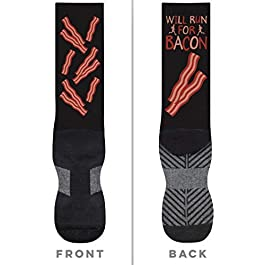 Will Run For Bacon (Bacon Pattern) Printed Mid Calf Socks | Running Socks by Gone For a Run | Multiple Sizes