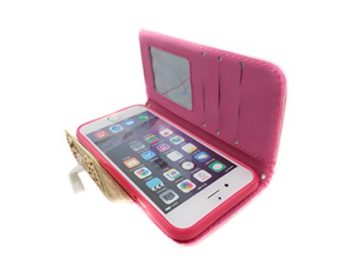 TCD for Apple iPhone 6 [4.7 inch device ONLY] Decorative Stylish Lacey Bow PU Leather [HOT PINK] Wallet Case Cover with Credit Card Slots [includes FREE SCREEN PROTECTOR AND STYLUS PEN]