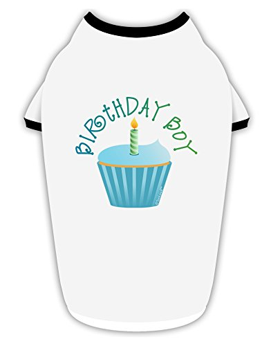 TooLoud Birthday Boy - Candle Cupcake Cotton Dog Shirt White with Black Small