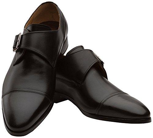 Scarpe Dapper Co. Uomo In Vera Pelle Fatti A Mano Classico Classico Monkstrap In Pelle Traforata Scarpe Oxford Con Fibbia Nero