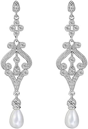 EVER FAITH Silver-Tone Pave CZ Cream Simulated Pearl Vintage Style Chandelier Dangle Earrings Clear