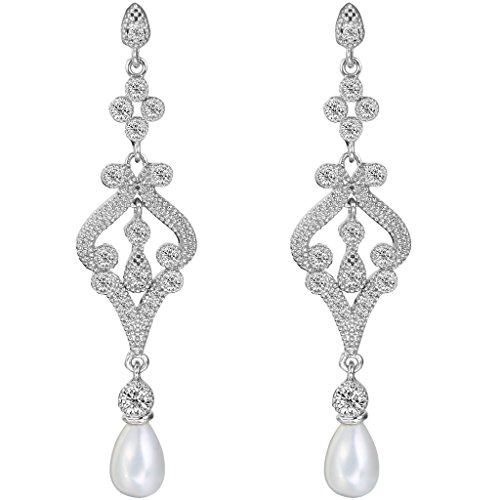 Pave Vintage Earrings (EVER FAITH Silver-Tone Pave CZ Cream Simulated Pearl Vintage Style Chandelier Dangle Earrings Clear)