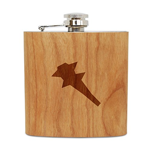 WOODEN ACCESSORIES COMPANY Cherry Wood Flask With Stainless Steel Body - Laser Engraved Flask With Spiked Club Design - 6 Oz Wood Hip Flask Handmade In USA ()