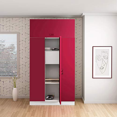 GODREJ INTERIO Slimline 3 Door Steel Almirah with Locker, with Over Head Unit in Ceremine Red,Textured Finish