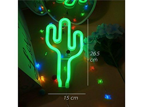 Junson Ordenador portátil LED Cactus Neon Signs Cactus Light Sign Signos Lámparas de Pared Batería y USB operado Lámparas...