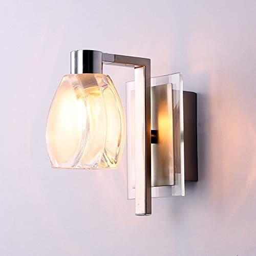 (TheMonday Led Crystal Glass Wall Light Fixture Fashion Single/Double Head Metal Wall Lamp Sconce for Bedroom Bedside Lamp Living Dining Room Stair Lighting (Size : Double Head) )