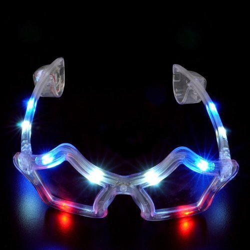 Light Up Flashing STAR GLASSES with 10 red, white & blue LED's! Great for the 4th Of July!
