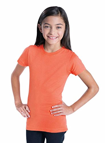 - LAT Girls' 100% Cotton Fine Jersey Crew Neck Short Sleeve Tee (Fuchsia, Medium)
