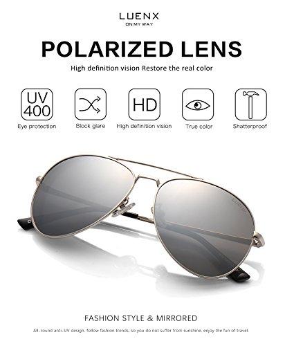 06737bcc4c LUENX Sunglasses Aviator Polarized for Men   Women with Case - 400 UV  Silver Lens Metal