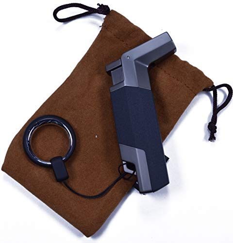 (Charcoal Single Flame Torch Lighter - Adjustable Refillable Butane - Cigar Lighter - Cigarette Lighter, Camping, Paracord)