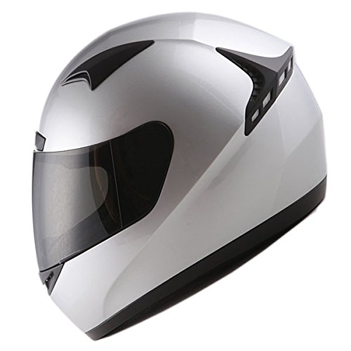 (1STORM MOTORCYCLE FULL FACE HELMET Bike BOOSTER GLOSSY SILVER)