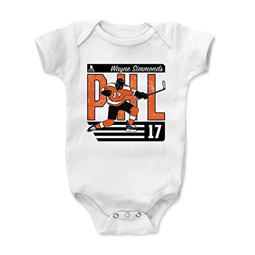 500 LEVEL Wayne Simmonds Philadelphia Hockey Baby Clothes, Onesie, Creeper, Bodysuit - 3-6 Months White - Wayne Simmonds City O (Baby Bib Phillies)