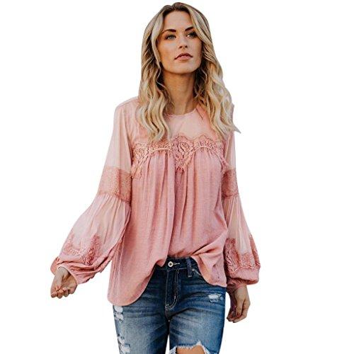 Lace Long Sleeves Lace Panel Perspective Long Sleeve Top T-Shirt Women Summer Beach Long Loose Duseedik