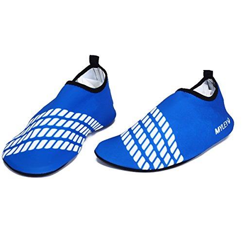 Panegy - Zapatos Deportivos Acuáticos de Agua Aguamarina Unisex Adulto para Hombre mujer Calzados Skin Shoes para Surf Natación Buceo Playa Antideslizantes - Rosa Azul Amarillo - Talla EU 36-44 Azul