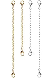 """Nickel Free Set Of 4 Necklace Bracelet Extenders No Tools Needed 2"""", 3"""" Chain, Usa, in Silver Tone with Gold Tone Finish"""